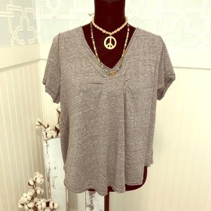 FREE PEOPLE heather grey V neck top